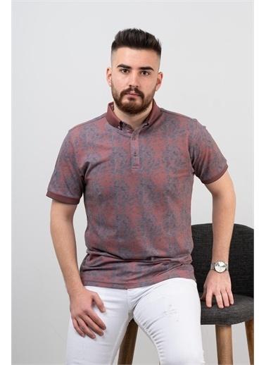 Deri Effect Erkek Polo Yaka Slim Fit Likralı Desenli T-Shirt Kiremit